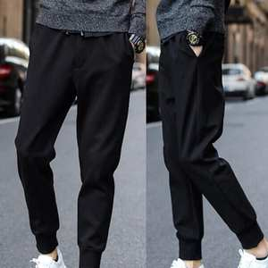 Long-Pencil-Pants Sports-Pants Men Casual Tied-Pockets Fitness Waist Drawstring Ankle