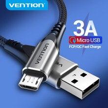 Vention – câble Micro USB/type-c 3A en Nylon pour recharge rapide et données, cordon de chargeur pour téléphone Samsung, Xiaomi, LG, Android