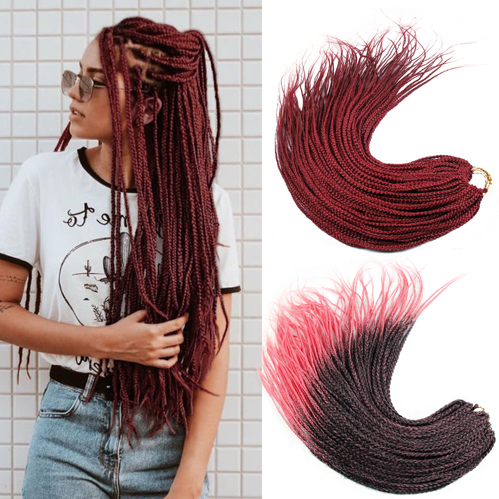 24Inch Box Braid Synthetic Ombre Braiding Hair Extension 24Strands Rainbow Crochet Hair African Braids Cheap Wholesale