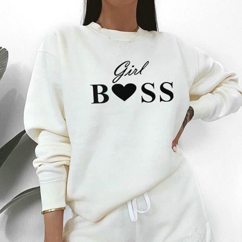 Women Sweatshirts 2019 Girl Boss Letter Printed Hoodie Autumn Sweatshirt Long Sleeve Cotton Pullover Tops Sudadera Mujer Jumper