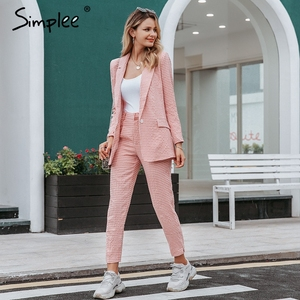 Image 5 - Simpleeチェック柄ダブルブレスト女性ブレザースーツセット長袖パンツスーツ女性のカジュアルなストリートズボンスーツ