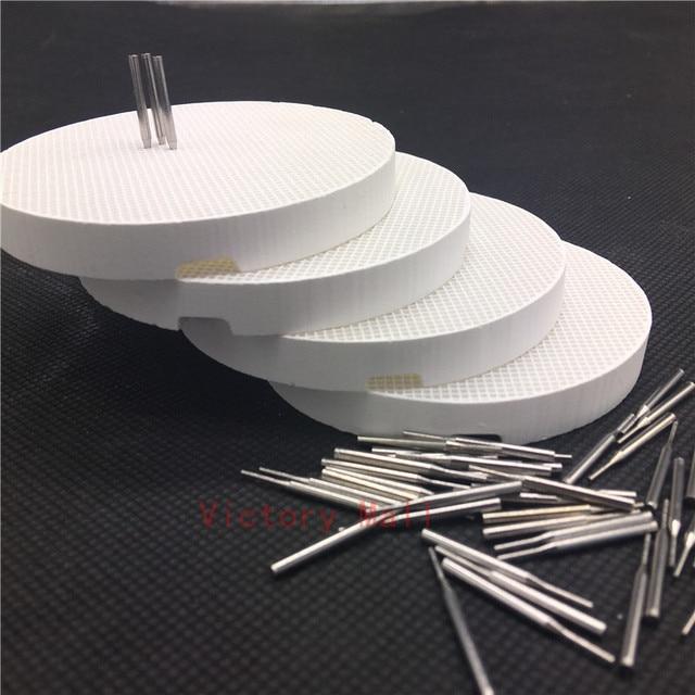 Plateaux de cuisson de nid dabeilles de laboratoire dentaire de 4 pièces avec 100 goupilles en métal, plat de cercle de support de casserole tenant des PFMs pour le frittage