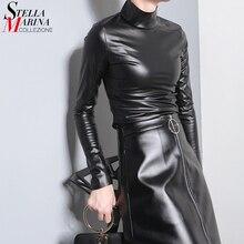 Новинка, японский стиль, женская осенняя черная футболка из искусственной кожи пу, Топ с длинным рукавом, Harajuku, футболка, водолазка, тонкая сексуальная футболка 781