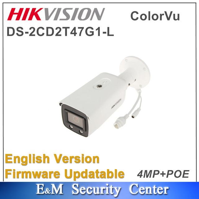 Original Hikvision English DS 2CD2T47G1 L upgraded to DS 2CD2T47G1 L 4MP POE CCTV ColorVu Fixed Bullet Network Camera