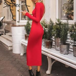 Image 5 - Simplee Sexy Bodycon dress Elegant office lady autumn o neck long sleeve dress Backless work wear slim fit long party dress