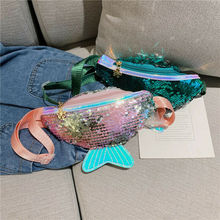 Single Shoulder Kids Girls Fashion Sequin Waist Bags Chest Bag Mobile Coin Purse Handy convenient Packs outdoor bags