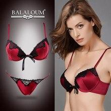 Balaloum Women Elegant Sexy Deep V Push Up  Bra and Panty Set Floral Lace Bowknot Seamless G String T Back Thongs Lingerie Sets