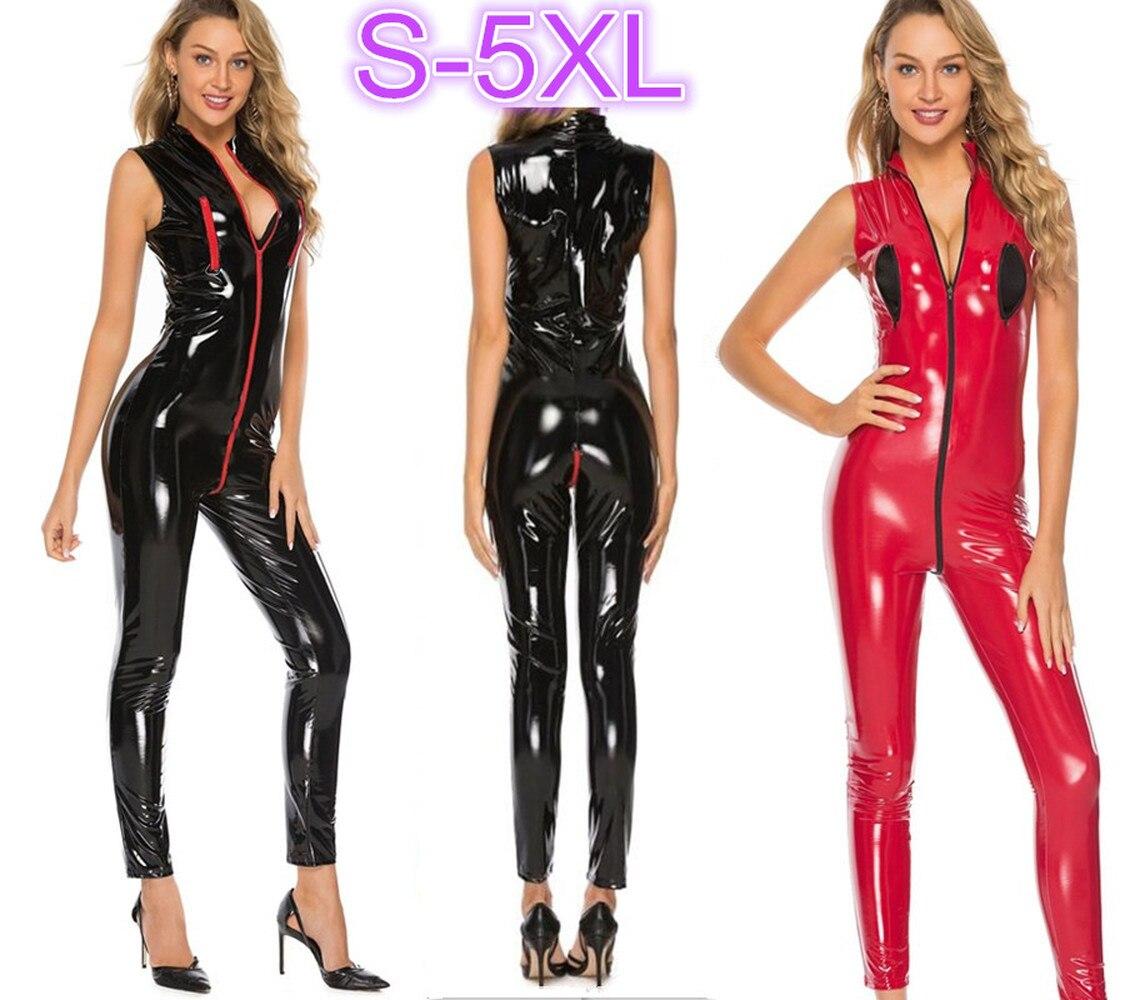 Macacão sexy sem mangas de couro, plus size, mulheres, pvc, látex, sem mangas, zipper, virilha aberta, traje sexy, aspecto molhado, clube, S-5XL