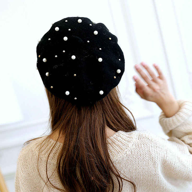 Vintage Wool Knittd Women French Pearl Beret Hats Ski Caps Warm Winter Girl Sweet Painter Hat,Cadetblue