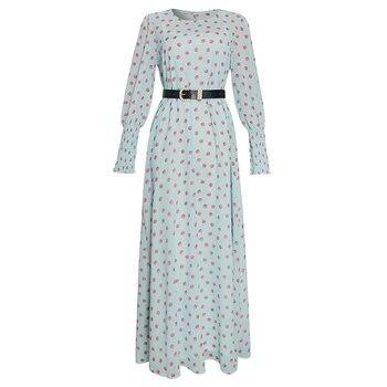 MD African Print Polka Dot Maxi Dresses Women Long Sleeve Chiffon Dress Underdress 2 Pieces Set New Muslim Fashion Evening Gowns - Blue, XL