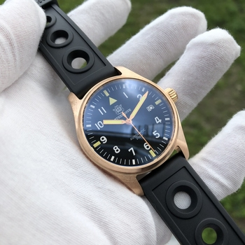 STEELDIVE Bronze Diver Watch 200m NH35A Pilot Automatic NH35 Sapphire Crystal CuSn8 C3 Super Luminous