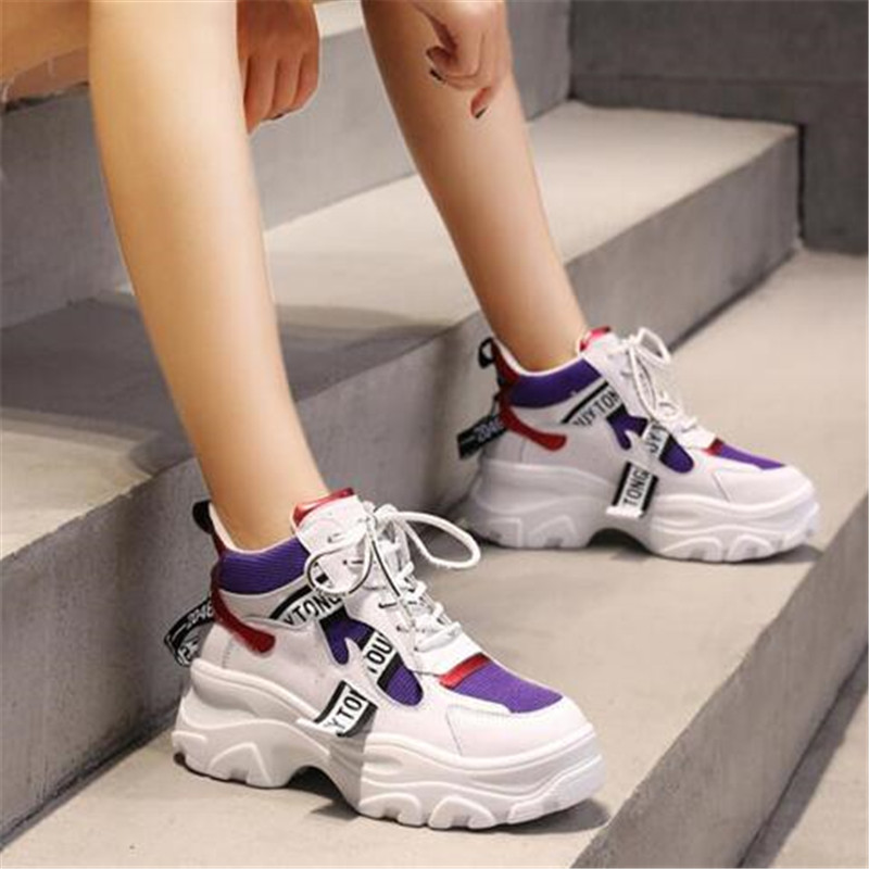 2019 Spring New Leather Women's Platform Chunky Sneakers Fashion Women Flat Thick Sole Shoes Woman Dad Footwear F023