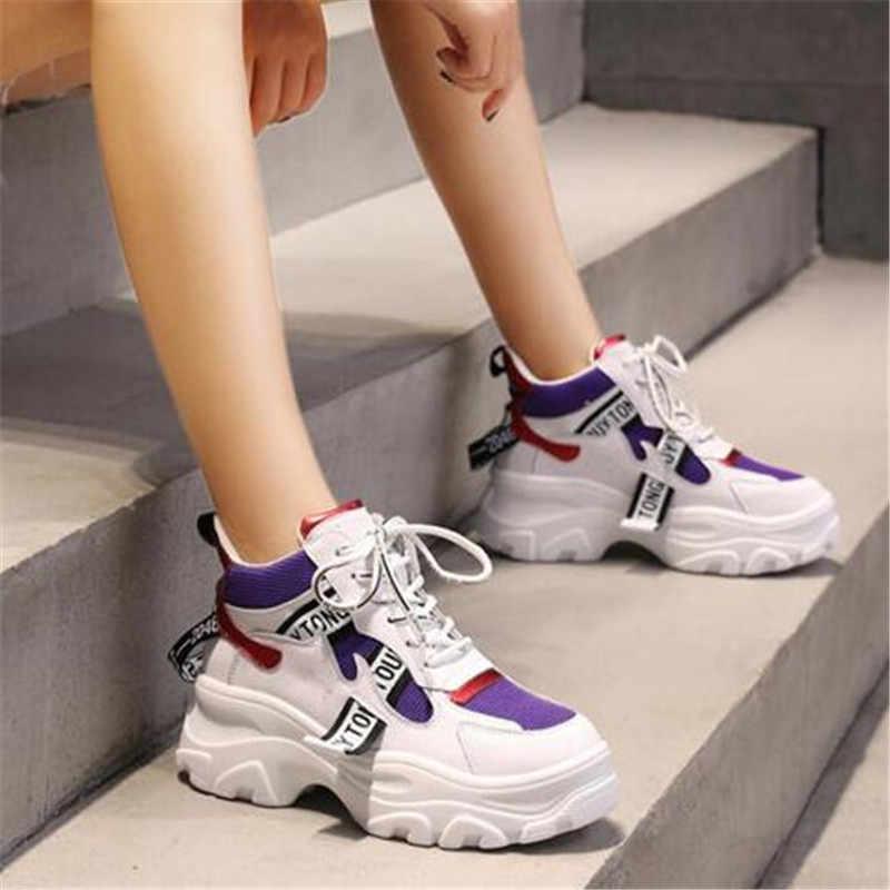 2019 frühling Neue Leder frauen Plattform Chunky Turnschuhe Mode Frauen Flache Dicke Sohle Schuhe Frau Dad Schuhe F023