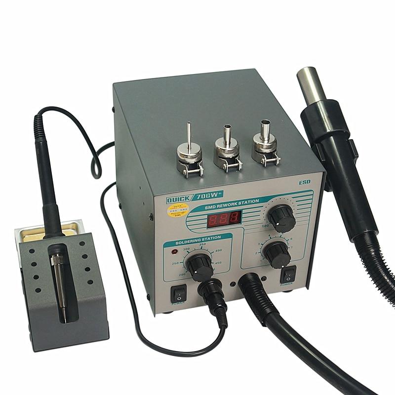 QUICK 706W+ Digital Display Hot Air Gun Electric Soldering Iron Anti static Temperature Lead free 2 in 1 Rework Station|gun gun|gun soldering|station hot air gun - title=