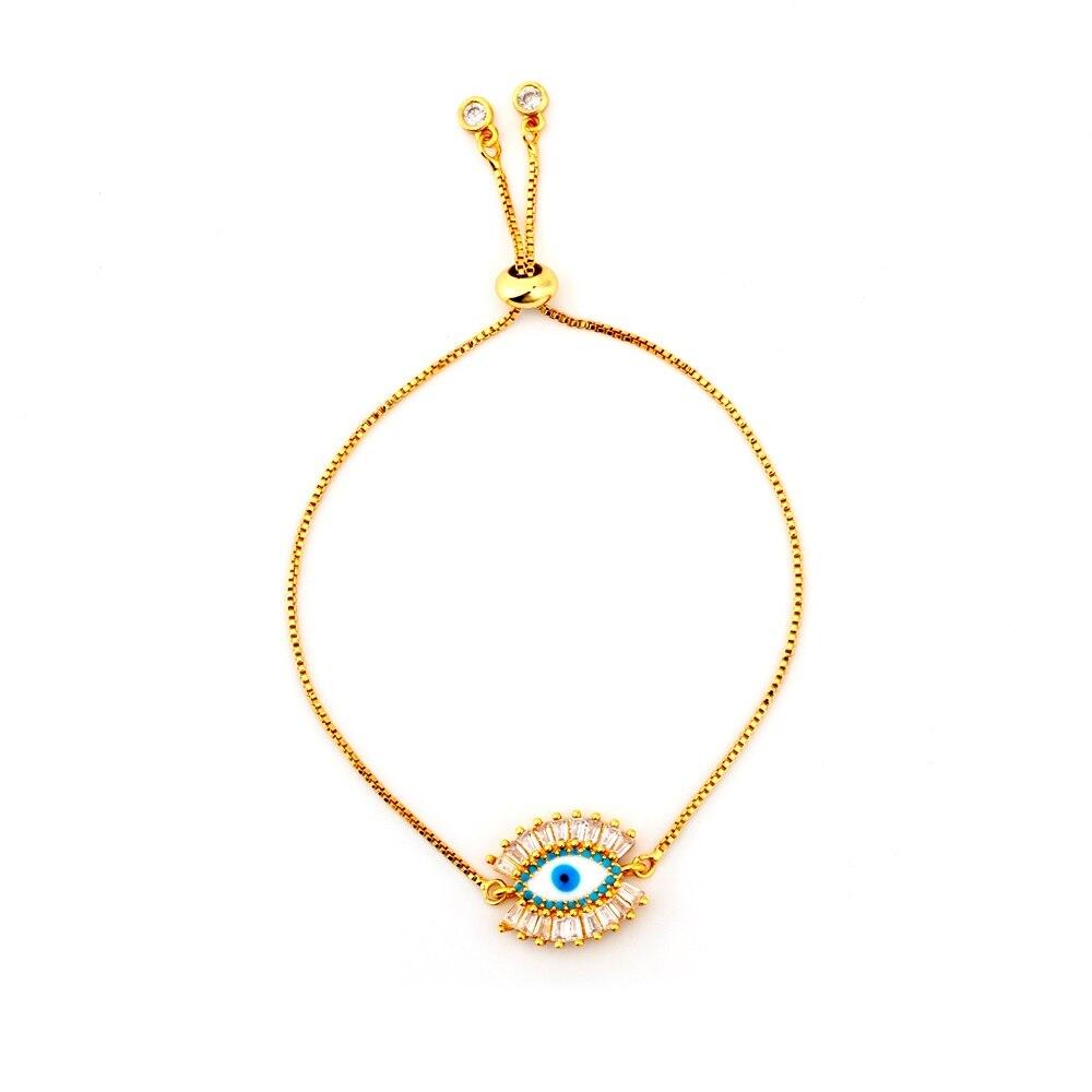 Горячее золото циркония браслет и браслет женский Радужное покрытие браслет Роскошный Регулируемый сердце злой глаз змея цепь браслет - Окраска металла: BRB53-C