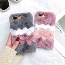 LCHULLE Cute Warm Furry Fluffy Case for Apple IPhone XR XS MAX X 6 6S 7 8 Plus SE 5S 5 Soft TPU Fur Hair Cover Shell Coque