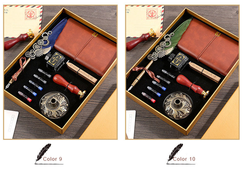 Creative Retro Feather Pen Set With Ink Bag Custom Ink Extraction Tube Pen Feather Notebook Fire Paint Seal Stationery Gifts Box