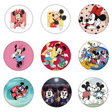 1PCS Plastic Brooch Cute Mickey Minnie Daisy Donald Icon Animal Badge Pin For Decoration On Backpack Clothe Scarf Birthday Gifts(China)