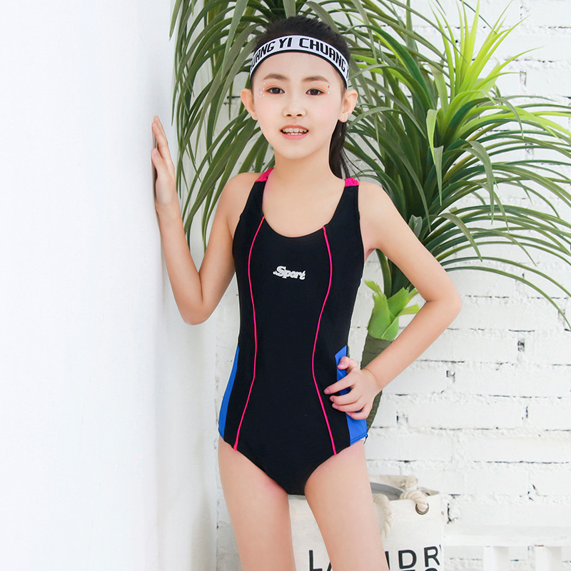 2019 New Style Chinlon Solid Color One-piece Triangular Panels Pressure Bud Athletic Training Middle And Large CHILDREN'S Swimwe