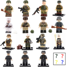 WW2 Military Army Soldier Figures Building Blocks Minifigs helmet Weapon Accessories Bricks Toys for Children