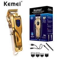 KM-2010 All-in metallo Barbiere Tagliatore di Capelli Professionale Elettrico Cordless LCD Capelli Trimmer Oro Argento Dei Capelli Falciatrice Macchina di Taglio