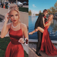 Halter Neck Prom Dresses 2019 Sexy Backless Front Split Satin A line Prom Party Dress vestidos de festa longo