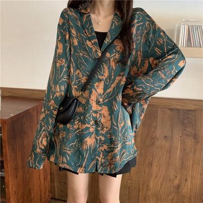 New  Blouse  Women Shirt   Print  satin Long   Tops  Ladies BL009 6