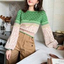 Kobiety żakardowa dzianina krótki sweter 2019 jesień rękaw lampionowy Lurex Color Block sweter świeże bluza typu Crop Sueter Mujer Invierno