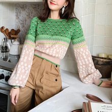 Women Jacquard Knit Cropped Sweater 2019 Autumn Latern Sleeve Lurex Color Block Pullover Fresh Crop Jumper Sueter Mujer Invierno
