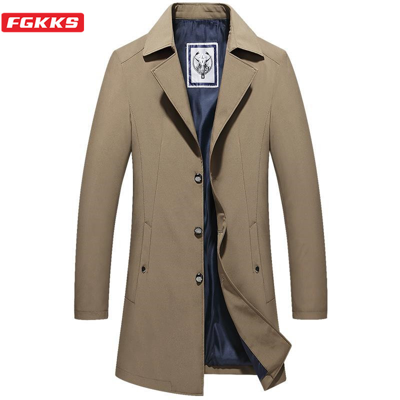FGKKS Fashion Brand Mens Trench Coats Solid Color Jackets Coat Vintage Men Business Long Jacket Coats Oversize Trench Man