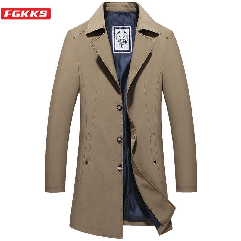 FGKKS Fashion Brand Mens Trench Coats Solid Color Jackets Coat Vintage Men Business Long Jacket Coats Oversize Trench Man