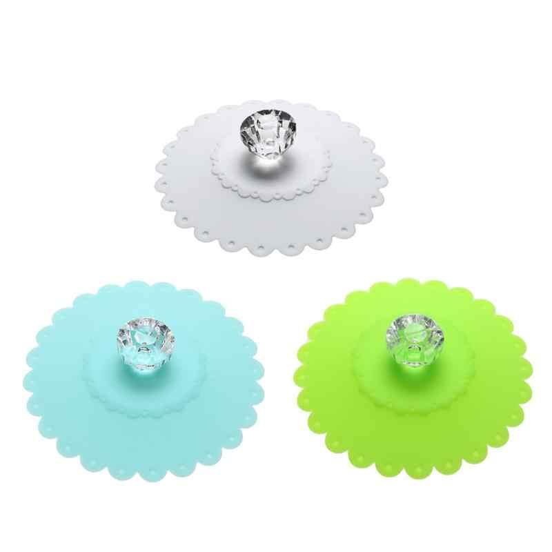Lucu Diamond Menangani Air Minum Cangkir Tutup Ramah Lingkungan Silikon Anti Debu Penutup Mangkuk Piala Tahan Bocor Segel Kaca Mug Cap 10.5 Cm