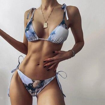 2021 Marble Print Micro String Bikini Women swimsuit female swimwear Two pieces bikini set Tie Knotted Bather bathing suit Swim splicing leopard print bikini 2020 women swimwear female swimsuit two pieces bikini set knotted halter bather bathing suit swim