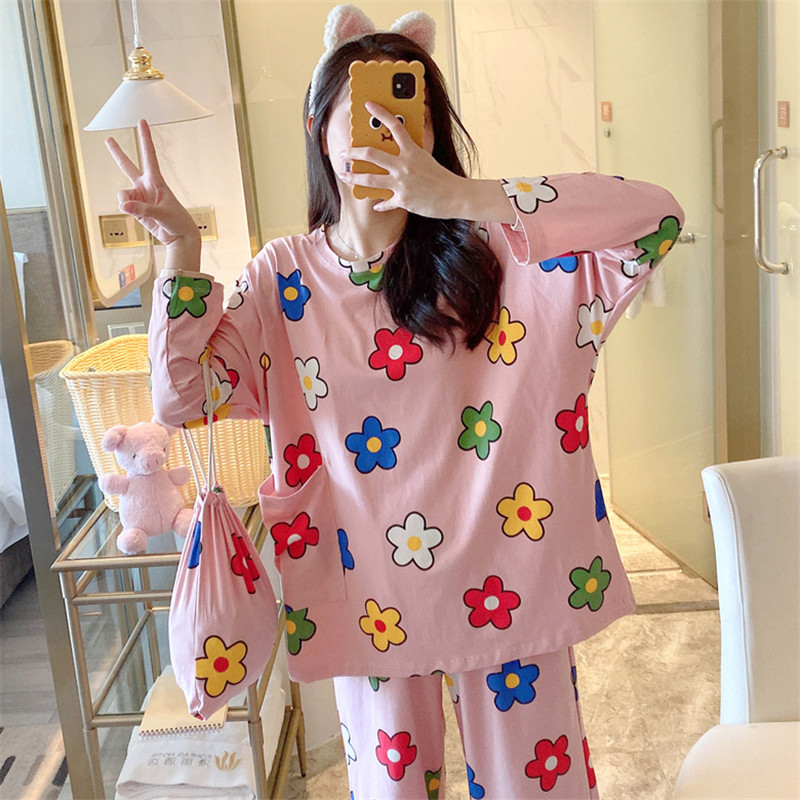 2019 Spring And Autumn Women's Pajamas Set Cartoon Printed Clothes Plus Size Loose Home Wear Cute Pajamas Soft Pajamas Home Wear