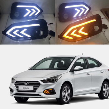 LED Daytime Running Light For Hyundai Accent I25 Solaris 2017 2018 Yellow Turn Signal Relay DRL Fog Lamp