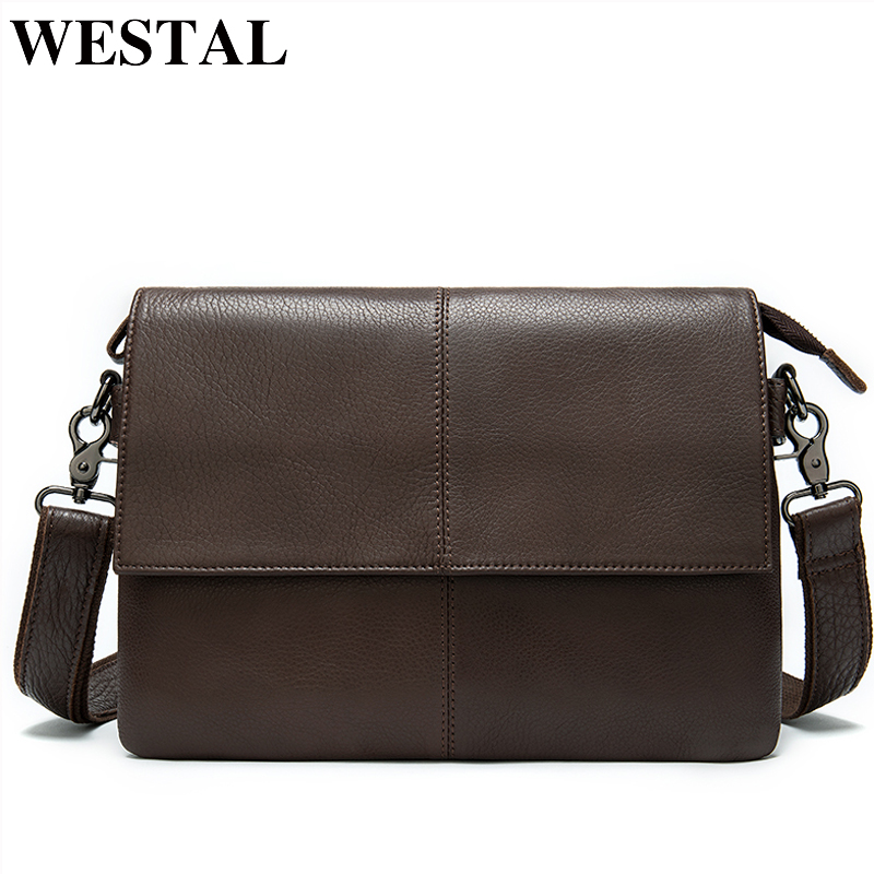 WESTAL Men's Genuine Leather Crossbogy Bag Messenger Bag Men's Shoulder Bag For Men's Bags Casual Men's Satchel Leather Handbags
