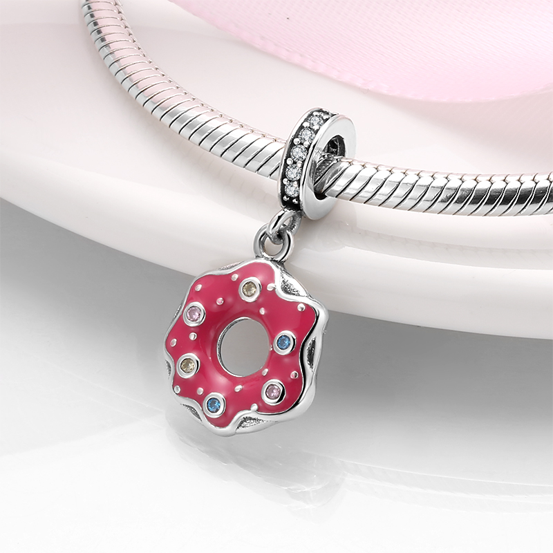 925 Sterling Silver Candy colored baby swimming ring pendant Beads for jewelry making Fit Original Designer Charm Fine Bracelet(China)