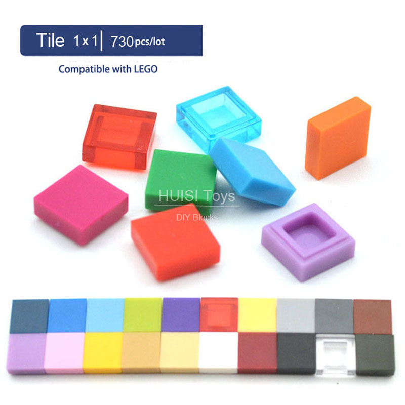Compatible Most Brand Bricks Parts 1x1 Flat Plastic Bricks Model MOC Buidling Blcoks Educational Toys For Children 6 Years Gift