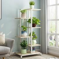 4/6 camadas rack de Flor varanda Casa sala prateleira stand vaso de flores interior varanda plantador carrinho de madeira carrinho de madeira|Prateleiras de plantas| |  -