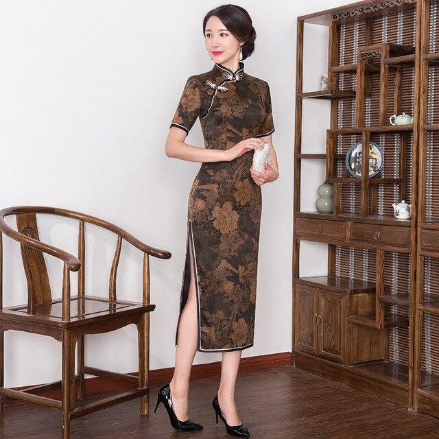 2019 véritable Quinceanera rétro Xiangyunshan soie Cheongsam, la longueur de la manche moyenne est améliorée, corps mince, Cheongsam jupe lourde