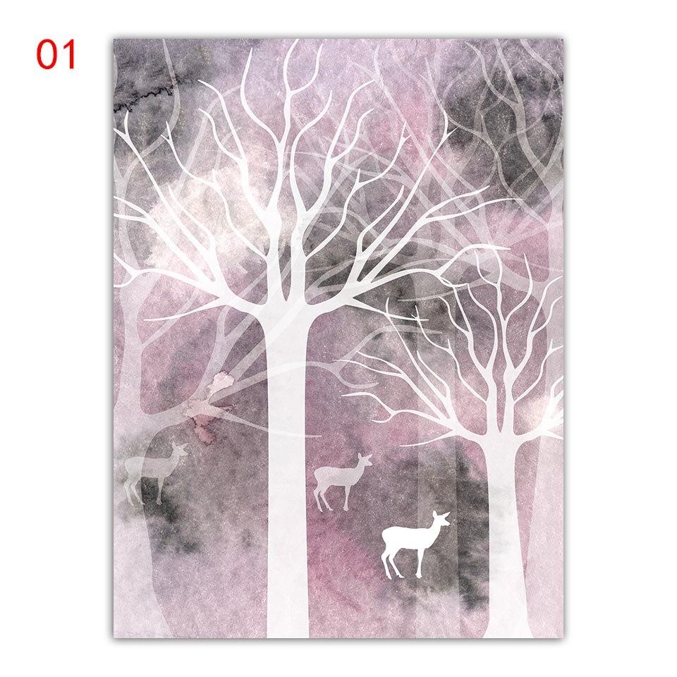 Абстрактная картина маслом Лес с козой скандинавские плакаты