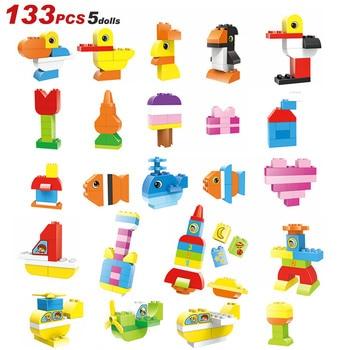 133PCS Large Particle  Building Blocks Stacking Bricks  Bricks Figure Boys Educational Baby Toys