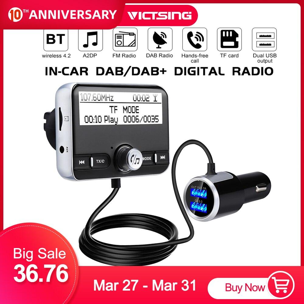 VicTsing In-Car DAB/DAB+Digital Radio Adapter & FM Transmitter With Bluetooth Hands-Free Calling/Dual USB Charging Ports/QC3.0