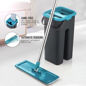 Image 2 - Düz sıkma paspas ve kova el ücretsiz sıkma zemin temizlik paspası mikrofiber paspas pedleri islak veya kuru kullanım parke laminat karo