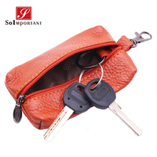 купить Genuine Leather Key Wallets Female Key Holder Housekeeper Keys Organizer Women Keychain Covers Zipper Car Key Case Bag Pouch  по цене 461.33 рублей