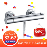 EVERSO Bathroom Shower Faucet Set Waterfall Shower Faucets Wall Mounted Thermostatic Mixer Valve Tap Thermostatic Shower Mixer