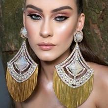 Yulaili 2019 Newest Fashion Earrings European Design Luxury Crystal Imitation Pearl Big Dangle Tassel Earrings Women Gifts