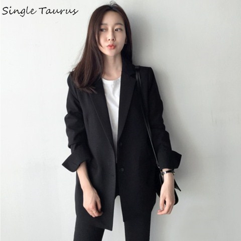 Spring Autumn Blazer Women 2019 Long Sleeve Black Jackets Suit Slim Ladies Blazers Work Wear Jacket Brief Office Lady Coat Women