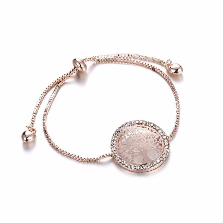 Nieuwe Pulsira Mujer Moda Kristal Uit Swarovskis Gold Charm Armband Vrouwen Armband Boom Van Het Leven Verstelbare Armband Sieraden