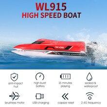 WLtoys-barco teledirigido sin escobillas de alta velocidad para chico, barco controlado por Radio de 2,4 Ghz, 45 km/h